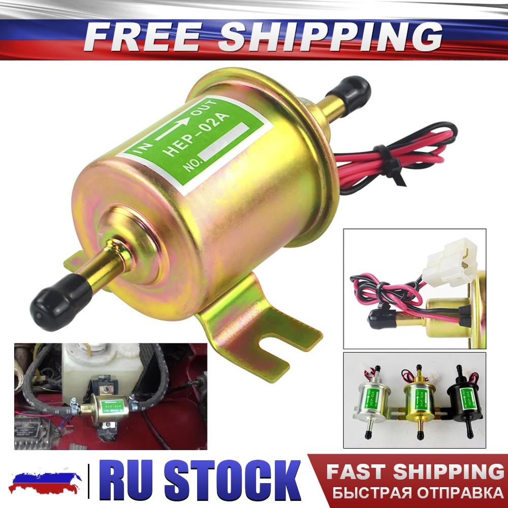 3 Colors Universal 12V Electric Fuel Pump Low Pressure Bolt Fixing Wire Diesel Petrol HEP-02A For Car Carburetor Motorcycle ATV