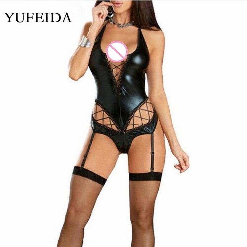 Yufeida nova sexy alta corte macacão halter gótico mulheres falso couro olhar molhado látex catsuit malha bodysuit stripper dança clubwear