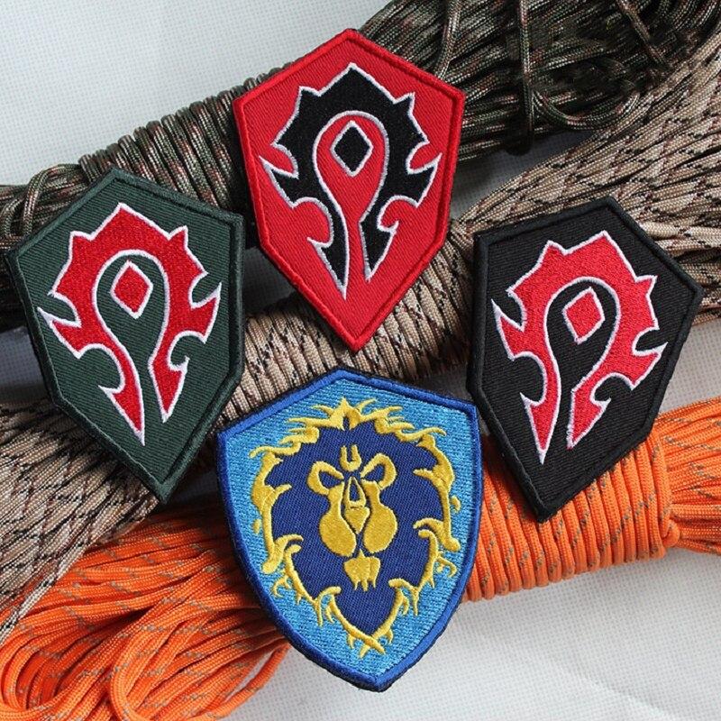 Wow warcraft aliança mundial tribo bordado leão remendo terran força acampamento tático moral braçadeira mochila remendos