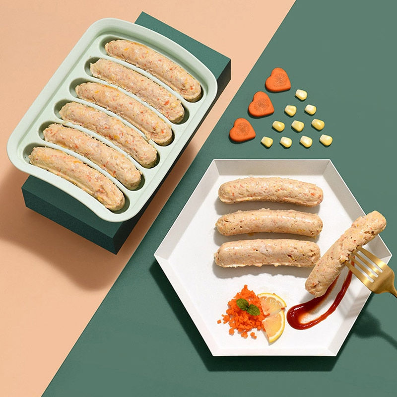 YosHouse 6 rejilla de silicona Ham Hot Dog hacer molde DIY salchicha molde suplemento de alimentos para bebés herramientas de hornear accesorios de cocina