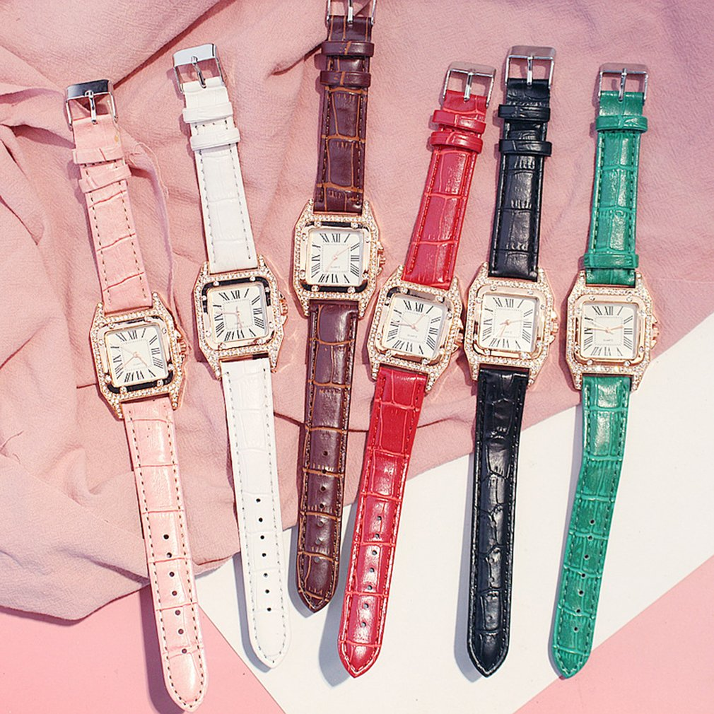 Women Colorful Diamond Watch Starry Square Dial Bracelet Watches Set Ladies Leather Band Quartz Wris