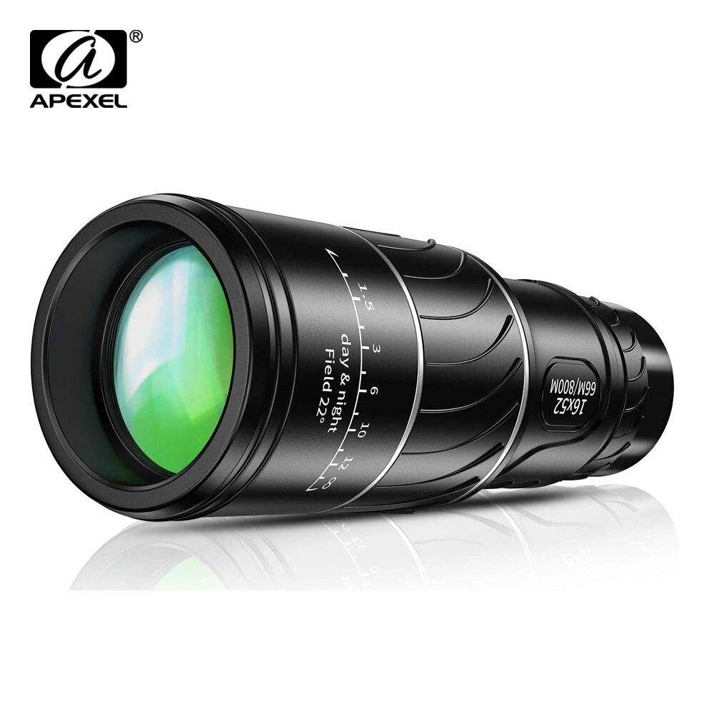 Apexel hd 16x52 duplo foco monocular 10x telescópio lente 66/8000m monocular para observação de aves ao ar livre acampamento viagem sportshiking