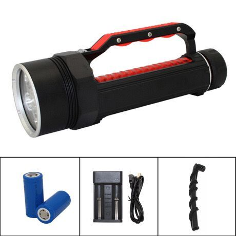 Diving Flashlight 6x  XM-L2 LED Underwater Suba Diving Light Waterproof Torch Lamp Lighting + 32650 Battery + Charger