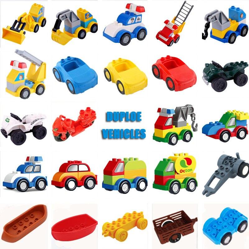 Duploe Excavator Crane Police Cars Duploed Parts Building Blocks Bricks Educational Toys For Children Kids Xmas Gifts