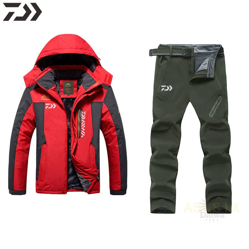 Winter Velvet Thicken Daiwa Fishing Suit Waterproof Windproof Daiwa Fishing Set Men Hoodie Fishing Jacket Sport Fishing Wear enlarge