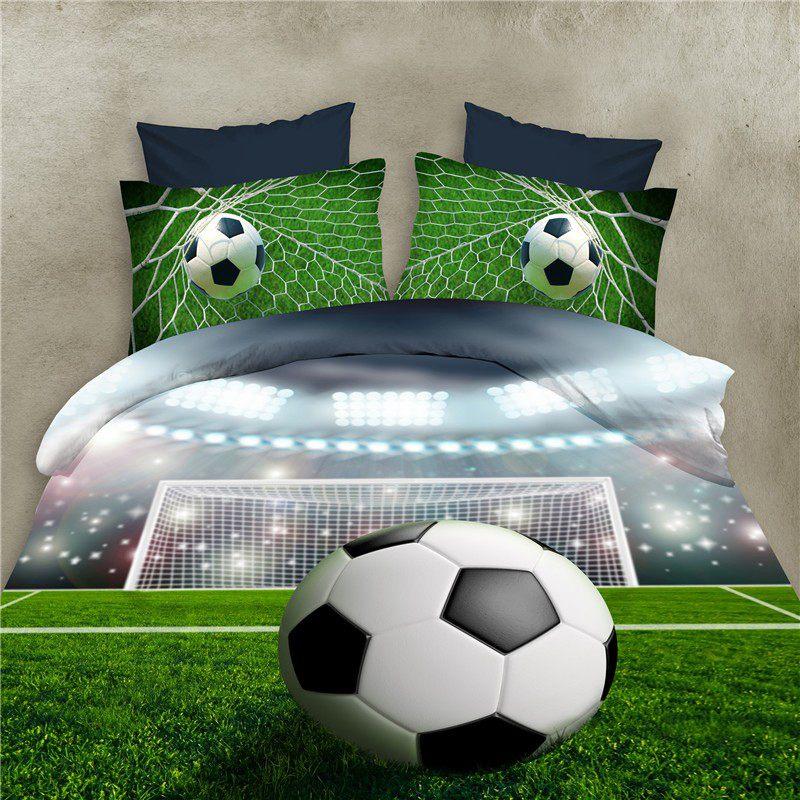 Fútbol las sábanas de la cama 3D juegos de ropa de cama edredón funda nórdica de la cama en una hoja de bolsa de propagación colcha Bedset funda de almohada de la Reina doble de tamaño
