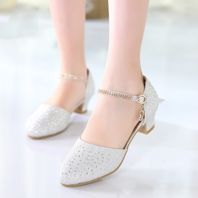 Children's Princess Shoes Student Piano Performance Dress Dance Shoes Rhinestone High Heels Silver Shoes Children's Shoes