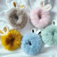 lovely scrunchies hair ring imitation rabbit fur plush hairband sweet elastic hair rope ponytail holder girls hair accessories