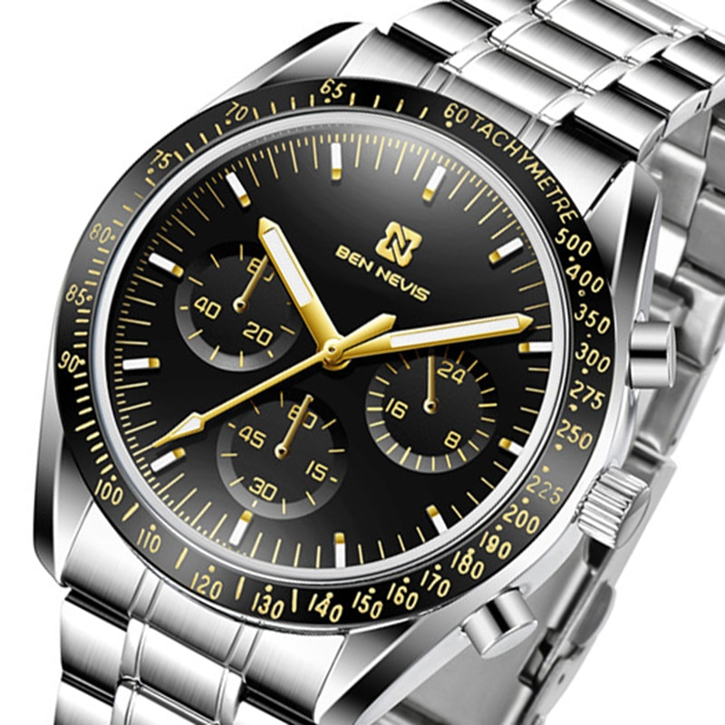 Reloj Masculino Ben Nevis, reloj deportivo con cronógrafo para hombres, reloj de cuarzo de acero resistente al agua para hombres