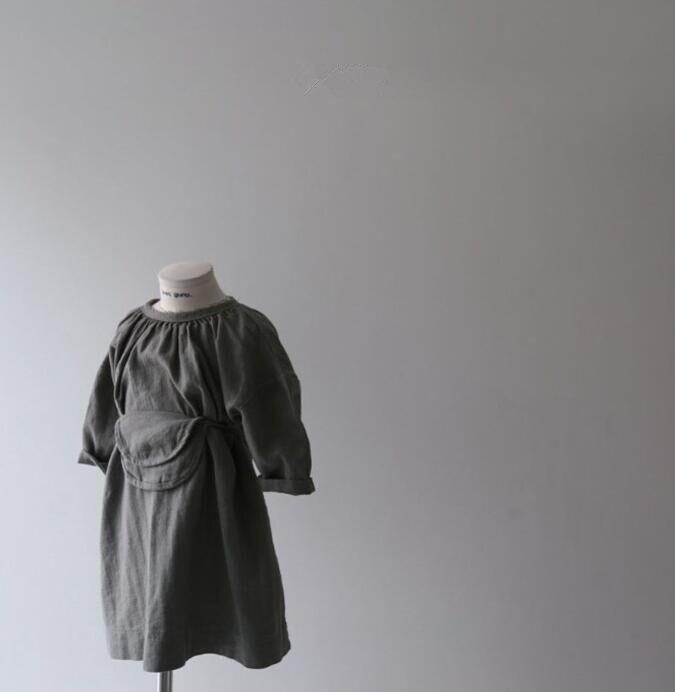 Primavera niñas algodón vestido de ocio con bolsa princesa vestidos para niña algodón hasta la rodilla