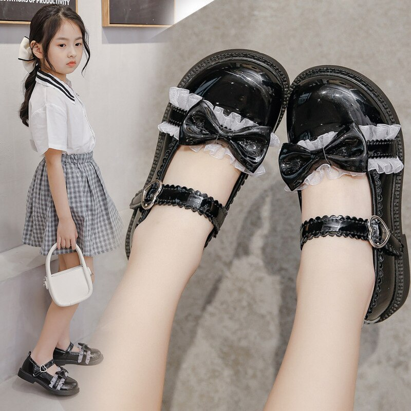 4-16 Years Sweet Girls Leather Shoes Fashion School Shoes Trendy Lace Bowtie Children Shoes Cute Pri