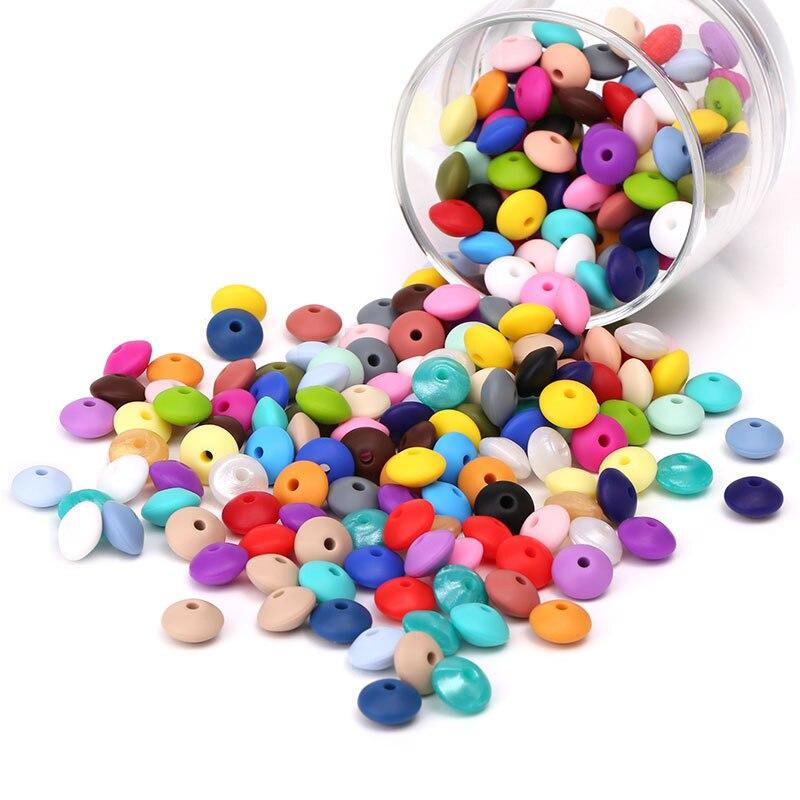 Силиконовые бусины для чечевицы, 50 шт., 12 мм, пищевая, для грызунов, DIY, Детская Подвеска, ожерелье, Прорезыватель для зубов, детские товары