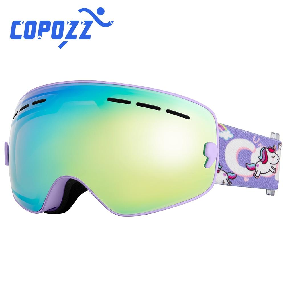 COPOZZ الاطفال تزلج نظارات صغيرة حجم للأطفال مزدوجة UV400 مكافحة الضباب قناع نظارات التزلج الفتيات الفتيان على الجليد نظارات GOG-243