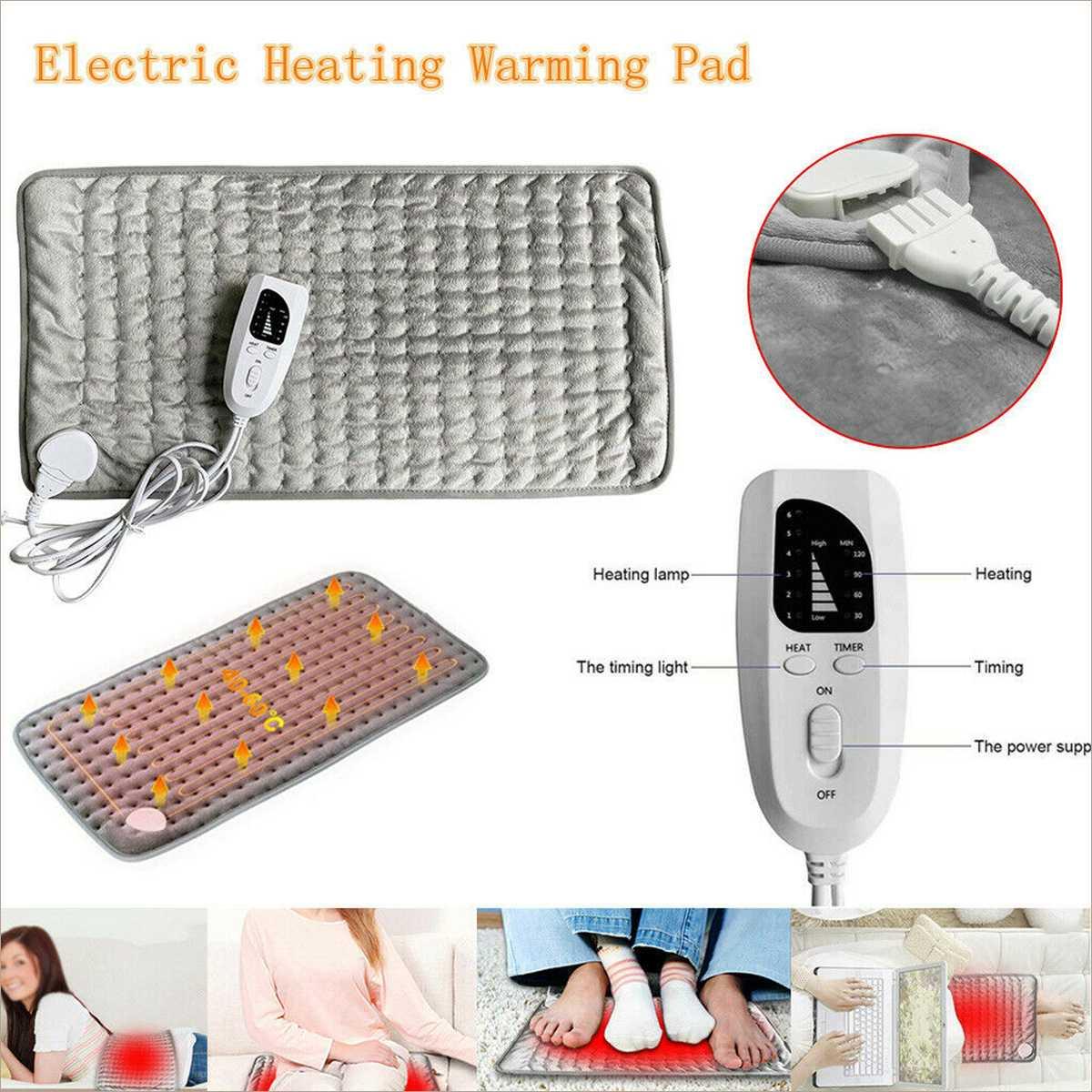 6 Level 120W Electric Heating Pad Timer For Shoulder Neck Back Spine Leg Pain Relief Winter Warmer 75x40cm 60x30cm EU/US/UK/AU enlarge