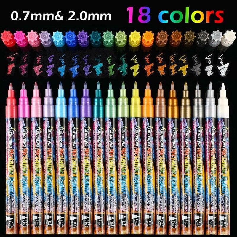 18 colores Graffiti pen rotulador metálico marcador a base de agua pintura a color taza de porcelana lienzo de madera herramientas de pintura hogar