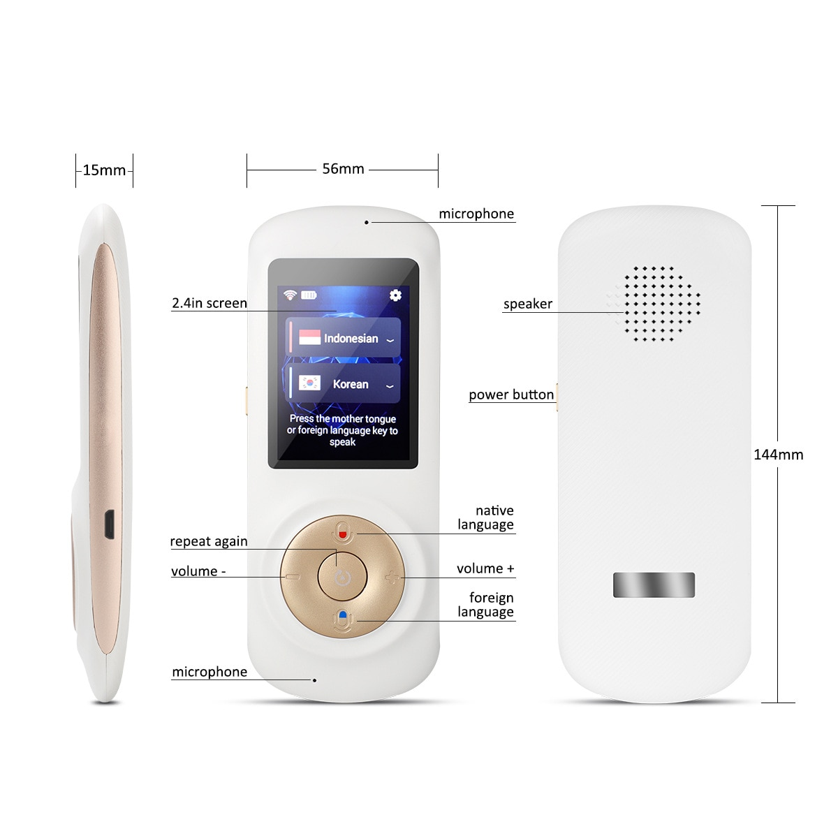 T2S Smart Portable Instant Voice Translator Support 70 Countries Language Two-way Translation Multi-Language Translator Voice enlarge