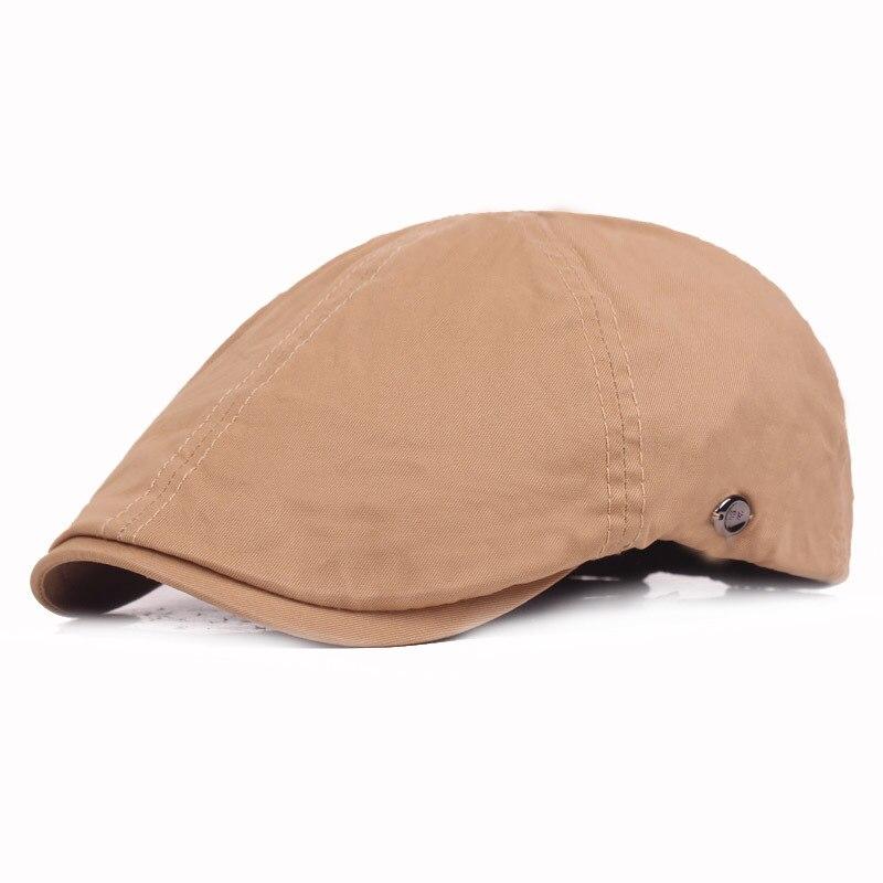 Los hombres de verano de color sólido boina casual moda desenfadada con sombrero medio-Edad y sombrero