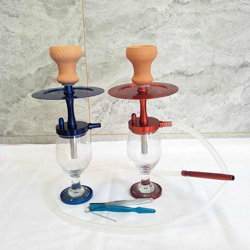 2020 novo conjunto de narguilé vidro viagem portátil com tigela cerâmica silicone tubo madeira carbono bandeja shisha fumar acessórios