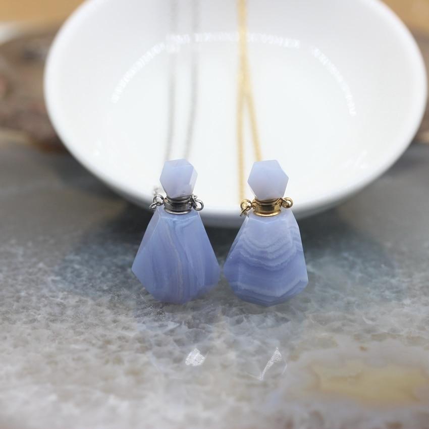Colliers de pendentifs de bouteille de parfum dagates de dentelle bleue de haute qualité, breloques naturelles de fiole de diffuseur dhuile essentielle de pierre de gemmes de calcédoine