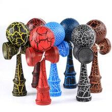 En bois 18cm Kendama balle fissure peinture habile jonglage balle jouets japonais traditionnel Fidget balle enfants loisirs sport adulte cadeau