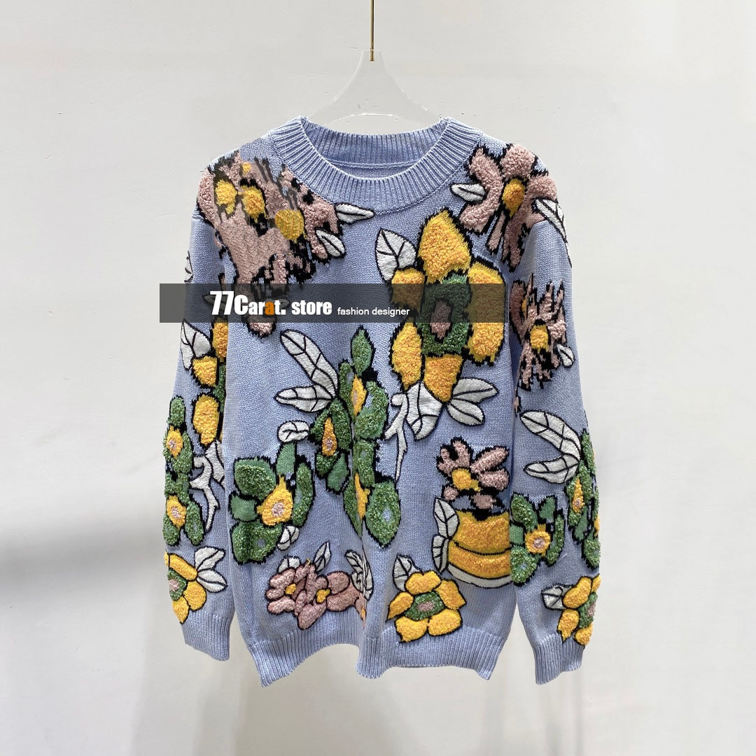 2021 new style fall clothes for women high end wool flower jacquard embroidered fashion sweater pullover jumpers woman sweaters enlarge