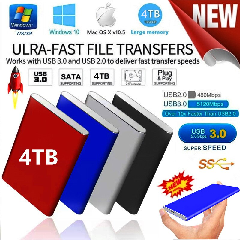 Authentic External Hard Drive 2.5 Mobile Hard Drive HD Externo 120G 250G 500G 1 TB 2 TB 4 TB USB3.0 Solid State Drive Storage,