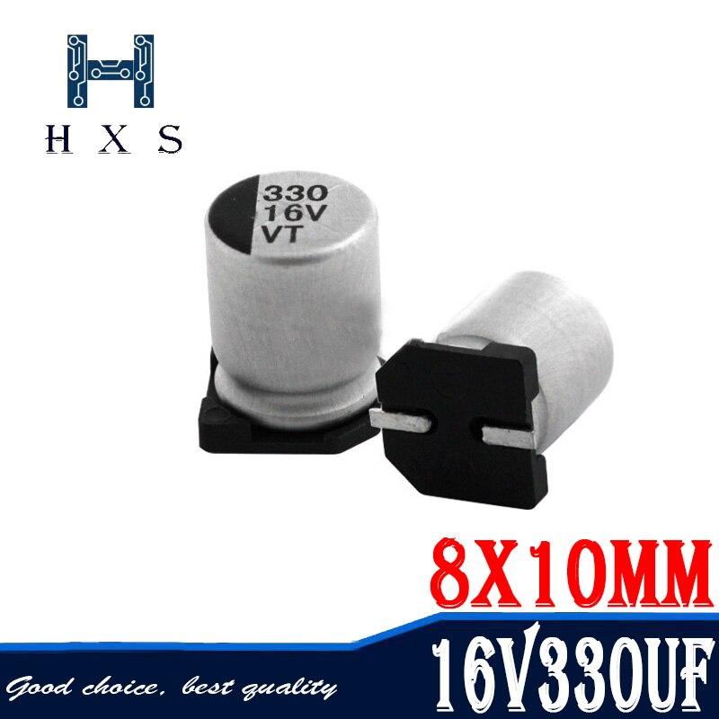 10 Uds 330uf 16V SMD condensadores electrolíticos de aluminio tamaño 8*10,5 330uf...
