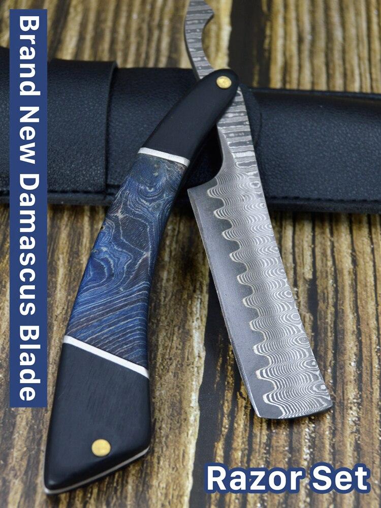 Handmade Damascus Steel Classic Razor Wooden Handle With VG10 Steel Cutter Head Folding Shaving Razor With Bag 4pcs/set G08014