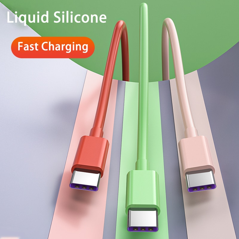 Liquid Silicone 5A Type-C Cable for Xiaomi Huawei OPPO VIVO Mobile Phone Accessories USB C Cable Cha