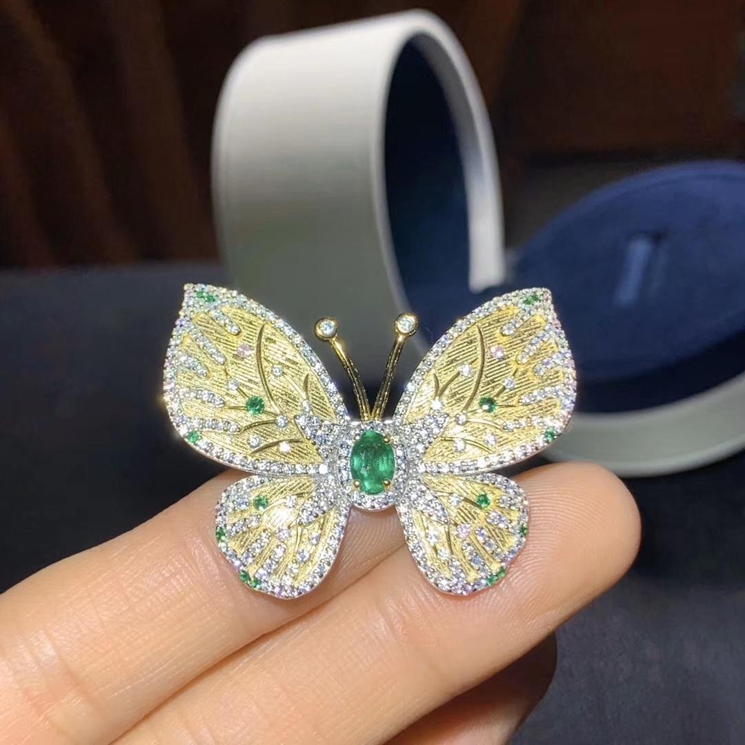Broche de mariposa de plata CoLife Jewelry para mujer, 4x6mm, broche de zafiro de plata 925 Natural, broche de Gema elegante de plata