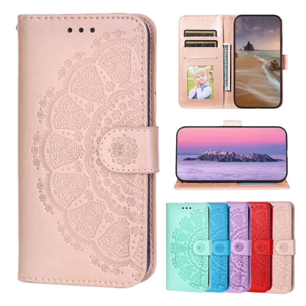 Business Flip Wallet Leather Case for Nokia 1.4 Coque Mandala Embossed Pattern Fundas Card Holder Folded Stand Shockproof Cover