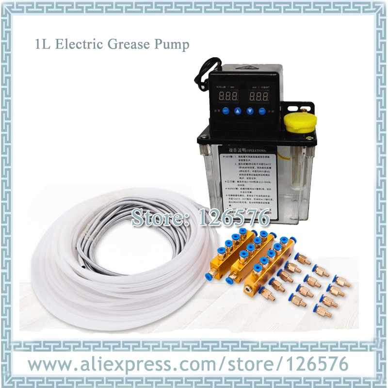 Full set 1L Electric Auto Lubrication Pump CNC Digital electronic Timer Oil Pump AC110V AC220V Grease pump