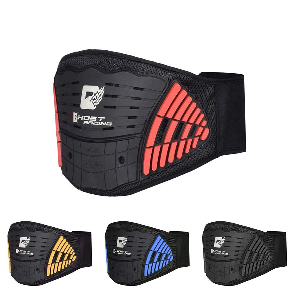 GHOST RACING Motorcycle Back Support Double Lumbar Brace Belt Motocross Protective Breathable High Elastic Adjust Waist