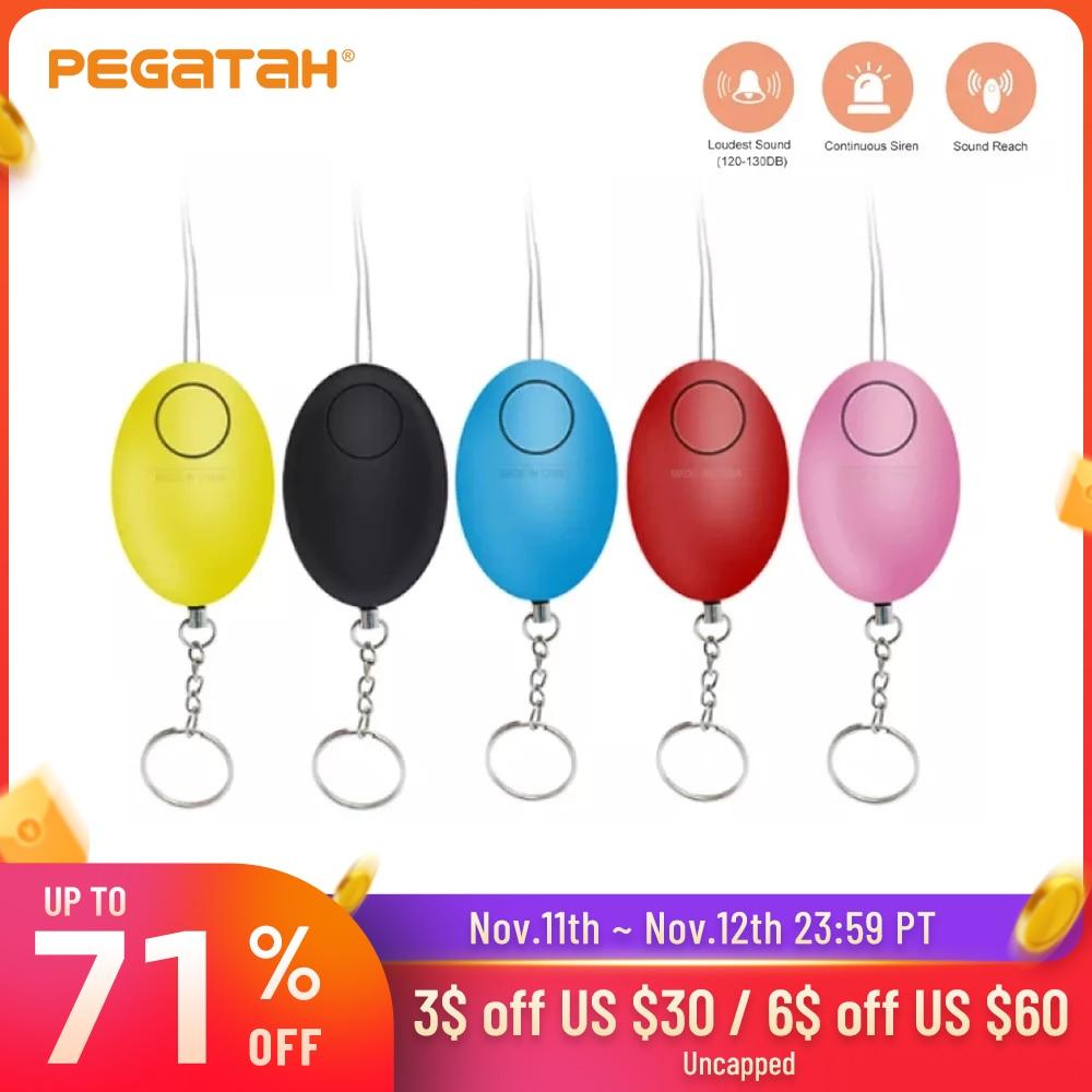 Дешевый Женская сигнализация для самообороны 120 дБ в форме яйца для девушек, охранное оповещение, Личная безопасность, громкий брелок для кл...