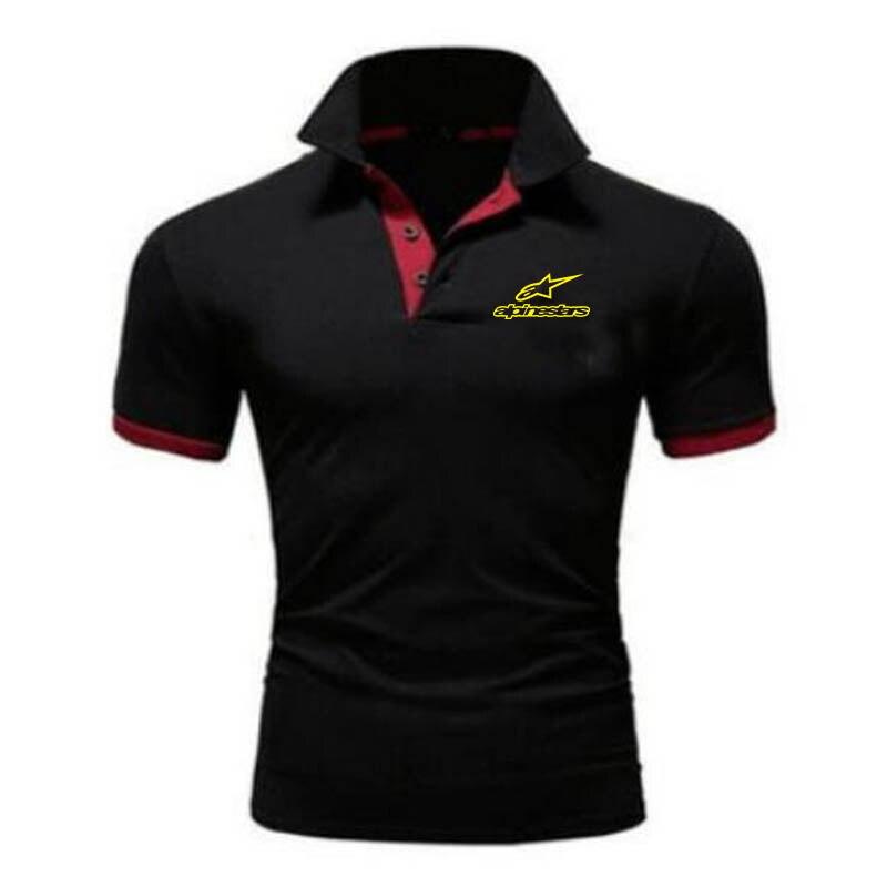 Camisa Polo de manga corta de verano para hombre, camisa polo de negocios de color sólido transpirable cómoda y ajustada a la moda e informal