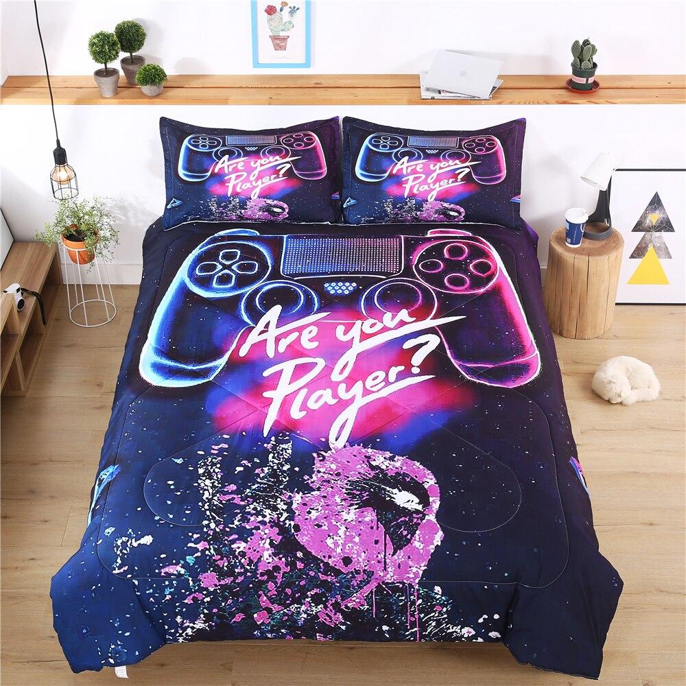 الألعاب مجموعات لحاف السرير للبنين أطفال المراهقين ألعاب وحدة التحكم لحاف طقم لحاف التوأم ألعاب جويستيك السرير المعزي مع سادات