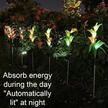 7 cambio de Color LED Solar simulación Calla luz con diseño de Azucena lámpara para jardín paisaje cambiante de lámpara de jardín decorativa F1C6