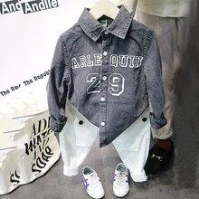 boy denim shirts spring autumn fashion letter denim shirts casual streetwear style handsome kids baby shirts 90-130cm z145