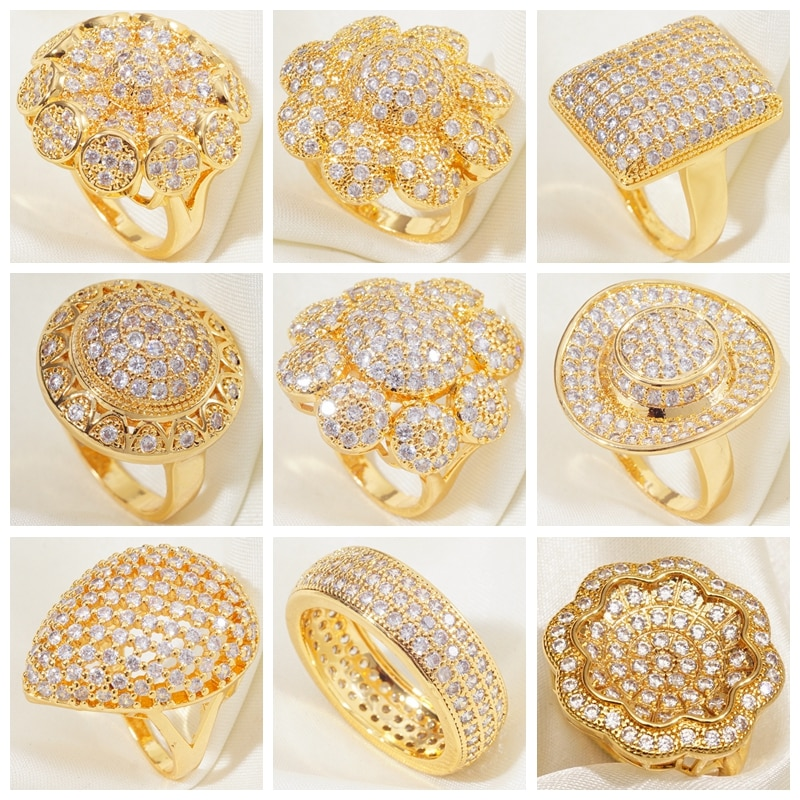 Anillos grandes rellenos de oro amarillo para mujer, anillos grandes para mujer,...