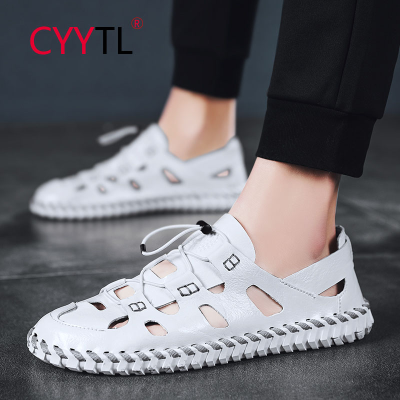 CYYTL New Men Summer Sandals Soft Leather Slippers Breathable Hollow Out Non Slip Beach Shoes Handmade Slides Zapatos Hombre