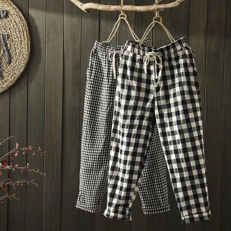 2021 Spring Summer Plaid Pants Women's  Harem Pants Capris Drawstring Waist Large Size Casual Loose