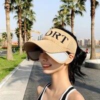 summer women baseball cap empty top knitted large brim retractable visor cap outdoor urban sports sun protection hat sun cap