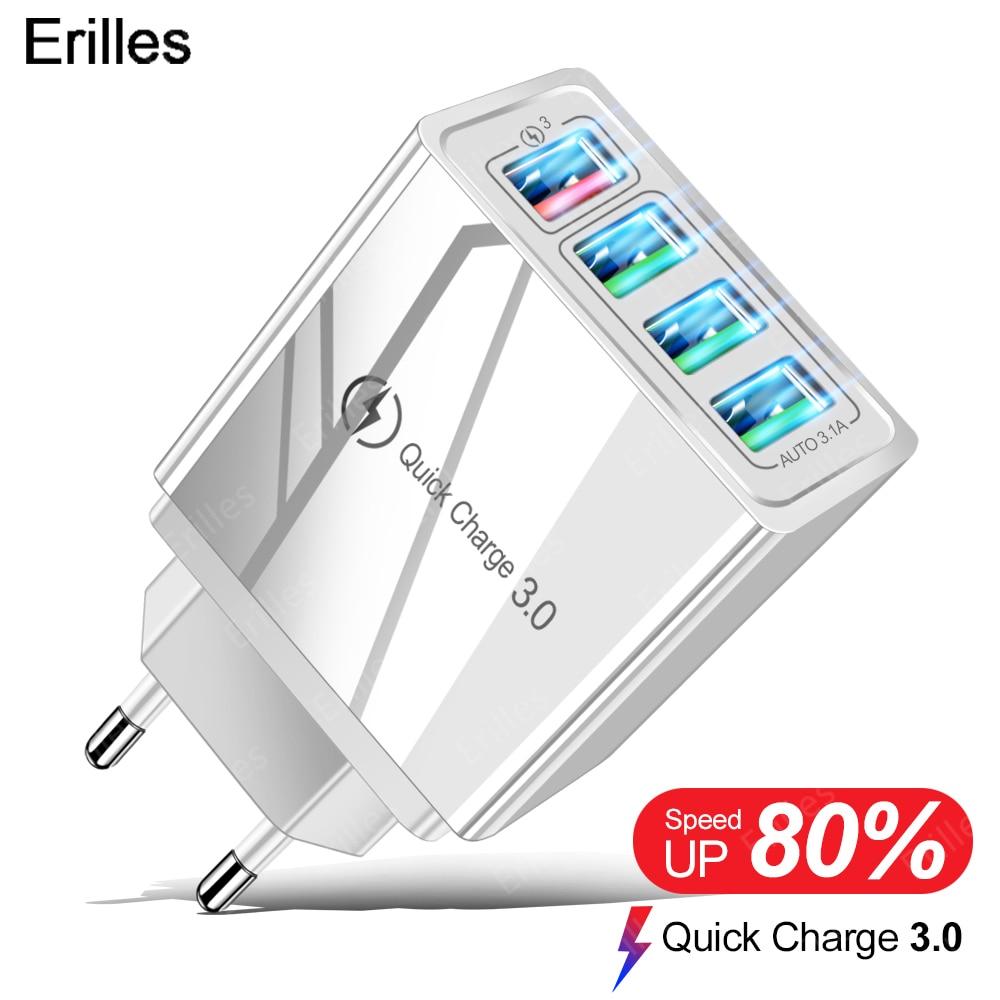 Настенный адаптер Быстрая зарядка 3,0 3A 4 порта USB зарядное устройство для смартфона iPhone Xiaomi Samsung зарядное устройство EU / US Быстрая зарядка QC 3,0