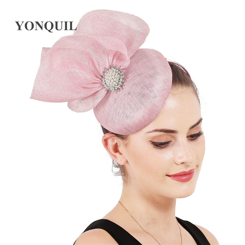 Sombrero de sinamay de 4 capas, elegante lazo femenino, tocado, bonito sombrero de sombrilla, carreras, sombrero magnífico para mujer, accesorios para el cabello