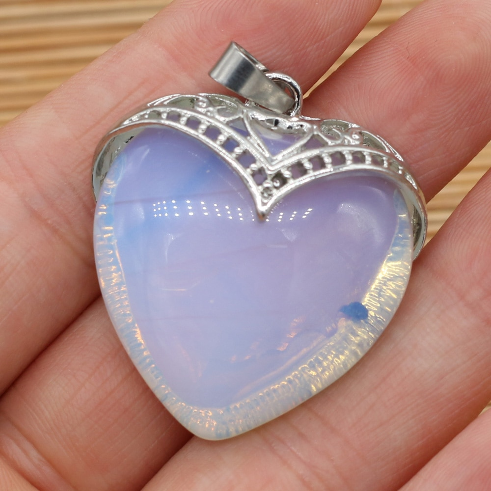 Natural Semi-precious Stone Pendants Hearts Amethysts Necklace Pendant for Women DIY Charms Jewelry Making Gift Size 32x35mm  - buy with discount