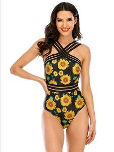 Women's Sexy One-piece Bikini Fashion Sunflower Printing Backless High-waist Slim Fit Swimsuit Cross strap Monokini bathing suit