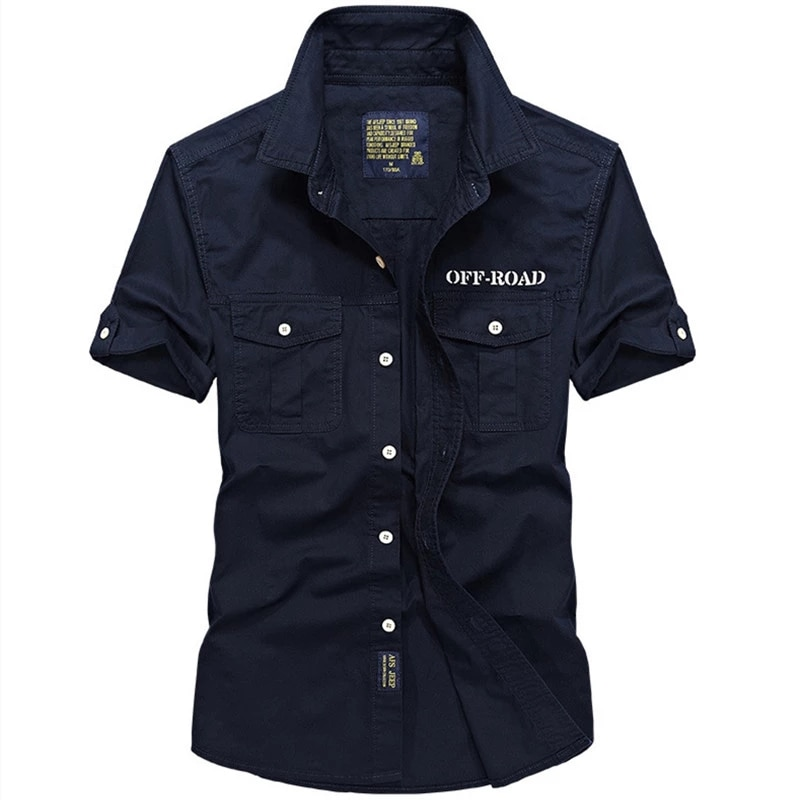 Мужская уличная рубашка из хлопка, летняя рубашка с короткими рукавами, новинка, тонкие рубашки в стиле милитари для отдыха, постоянная руба...