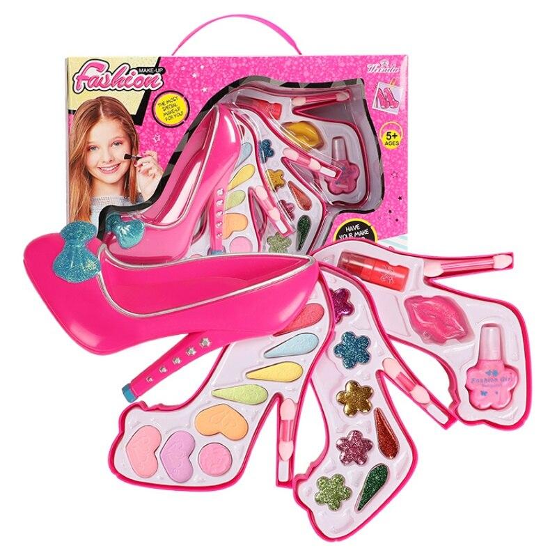 Set de cajas de maquillaje para niñas, juguetes de belleza, cosméticos, no tóxico, con tacones altos para niños