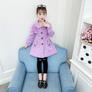 Girls Jacket Spring Autumn Clothing 2021 New Bow Korean Version Of The Solid Color Jacket In The Big Virgin Princess Windbreaker