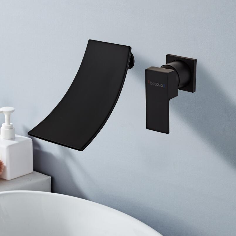 BAKALA Black Gold Wall Mounted Waterfall Sink Faucet Single handle Waterfall Water Outlet Bathroom Vessel Sink Mixer LT-304